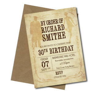 Personalised PEAKY BLINDERS Theme Birthday Invites Pack of 10 with envelopes