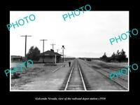 OLD LARGE HISTORIC PHOTO OF GOLCONDA NEVADA, THE RAILROAD DEPOT STATION c1930