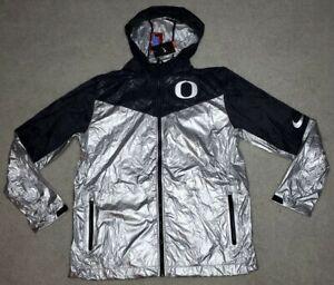 RARE Nike Oregon Ducks Silver Black Hooded Jacket Men's XLarge NWT