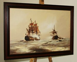 LES SPENCE (b.1935 ) Large Oil Painting of Two Galleons at Battle in Rough Seas