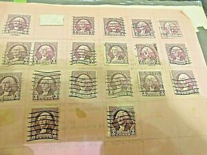 Lot of 18 WASHINGTON 3 cent VIOLET STAMPS with Hinges FREE SHIPPING