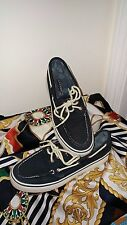 SPERRY TOPSIDE NAVY BLUE TEXTURED CORDUROY DECK SHOES SZ 6M