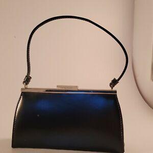 Nine West black 60s vintage style kiss lock Clutch Pouch Bag Purse retro