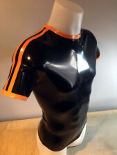MENS RUBBER T SHIRT WITH SPORTS STRIPES (SIZE S)