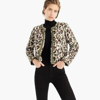 J. Crew Women's Quilted Jacket in Autumn Cheetah Size X Small XS Green