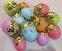 Easter Egg Gold Glitter Pastel Hanging Eggs Ornaments Tree Decor Qty of 12