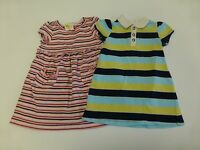 2 Dress Lot Crazy 8 Pumpkin Patch Girls Size 18-24M Striped Knit Good Condition