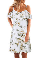 UK Womens off The Shoulder Floral Mini Dress Ladies Summer Beach Party Sundress 10 White