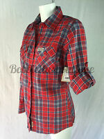 Womens Ladies Casual Red/Blue Cotton Check Shirt size 6 8 10 12 14 16 18  20 UK
