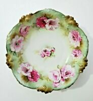 """Antique RS Prussia  Large Floral Bowl with Roses 10.25"""""""