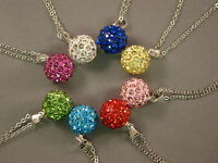 Shamballa Necklace Pendant Czech Crystal Clay Disco Ball Silver 12 MM + Necklace