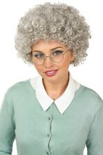 Ladies Grey Old Granny Short Perm Curly & Glasses Fancy Dress Costume Outfit Wig