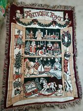 "Fieldcrest Christmas Tapestry Throw Blanket ""Antique Toys"""