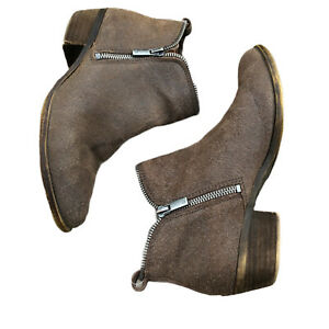 Lucky Brand Bartalino Boots Sz 6.5 Dual Zip Suede Leather Ankle Booties Taupe