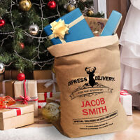 Personalised Christmas Sacks Kids Hessian Stocking Present Santa XL Extra Large