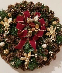 Christmas Holiday Wreath  Decoration 15 inches 3 Gold Angels Religious Red