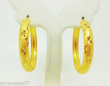 22K 23K 24K Thai Baht YELLOW GOLD GP EARRINGS Hoop E India Jewelry