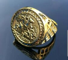 New men's 9ct Gold Plated Sovereign Ring All Sizes Bling Chunky