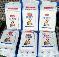 6 PACK Deodorizing Pet Wipes Paws Bathing/Grooming Cat Dog Aloe Wet Wipes 300 CT