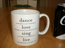DANCE (etc.) - LOVE (etc.) - SING (etc.) - LIVE (etc.), Ceramic JUMBO Coffee Mug