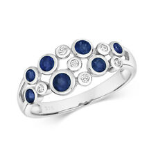 9ct White Gold Blue Sapphire and Diamond Fancy Gemstone Ring, Sizes J to Q (488)