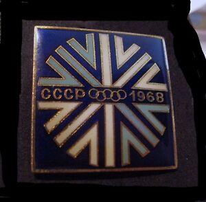 Grenoble1968 10th Winter Olympic Games Soviet Union NOC Team Dlgtn XL RARE pin