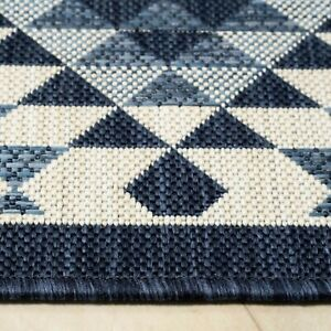 Blue Modern Outdoor Rug Large Small Garden Summer Mat Plastic Washable Patio Rug