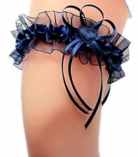 Braut Strumpfband blau dunkelblau nachtblau mit Satinherzchen Hochzeit EU