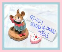 ❤️Wee Forest Folk M-221 String-of-Hearts Teal Blue Dress Heart Valentine Mouse❤️