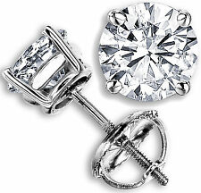 1.43 CT G-H SI GENUINE ROUND DIAMOND STUD EARRINGS 14K WHITE GOLD 100% NATURAL