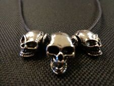 THREE SKULL CHOKER FASHION JEWELRY GOTHIC OUTLAW JEWELRY
