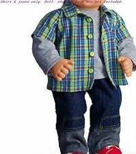 Brand New Hard To Find American Girl Bitty Baby Twins Boy Plaid & Denim Outfit
