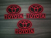 3 pcs Patch Red Toyota logo Car Motor Racing Embroidered Iron or Sew on Jacket