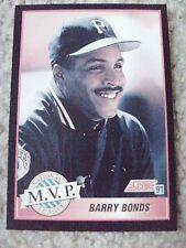 Barry Bonds MVP 1991 Score RARE BLANK BACK PROOF CARD hand-cut from sheet