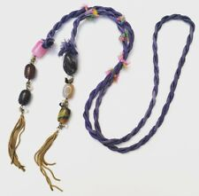 Purple Twisted Silk Rope Necklace Gold Chain Fringe Polished Stones Faux Pearls