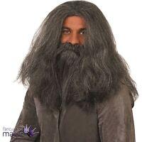 Grey Wizard Wig and Beard Fancy Dress Old Man Hagrid Caveman Halloween Costume
