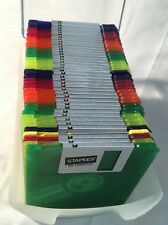 """Staples 2HD IBM Formatted 3.5"""" Floppy Diskettes 1.44 MB -  41 Neon Disk Case UIB"""