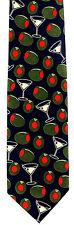 Ralph Marlin Martini Olives Mens Neck Tie Blue Necktie Alcohol Cocktail Bar New