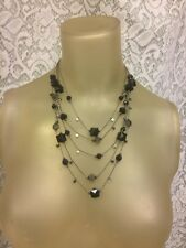 """5 Layer Floating Bead & Gun Metal Grey Chain Necklace 21"""" long"""