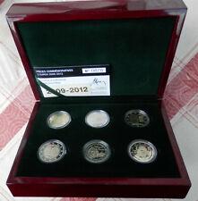 6x 2 Euro Luxemburg, 2009-2012, PP, in Schatulle und Zertifikat