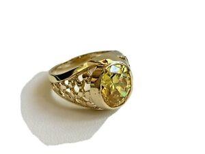 ESTATE 14K YELLOW GOLD MENS CITRINE  RING SIZE 9 1/4