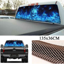 135x36cm Vinyl Truck SUV Rear Window Blue Flaming Skull Sticker Accessories