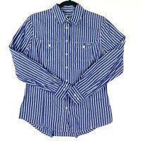 RM Williams Stockyard Womens Size 8 Blue White Striped Long Sleeve Button Shirt