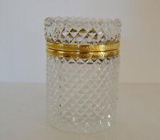 French Antique Ormolu Cut Crystal Trinket Box - Charles X Diamond Point