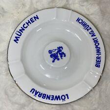 Lowenbrau Munchen Bier Import Ag. Zürich Ash Tray, White & Blue W/ Gold Rim Trim
