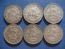 6 x George VI English Shillings 1946.