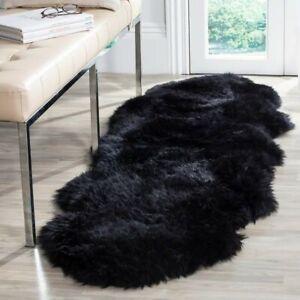 Sheepskin Black Faux Fur Rug 2x4