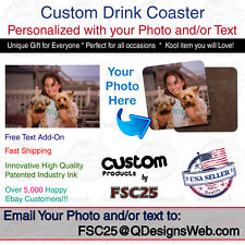 Custom Premium Square Drink Coaster Personalized Photo image Logo and/or text