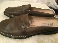 DOCKERS Womens Leather Slip On Mules Clogs Slides Shoes Size 7M Green Tan Taupe