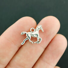 12 Horse Charms Antique Silver Tone 2 Sided 3D - SC7811